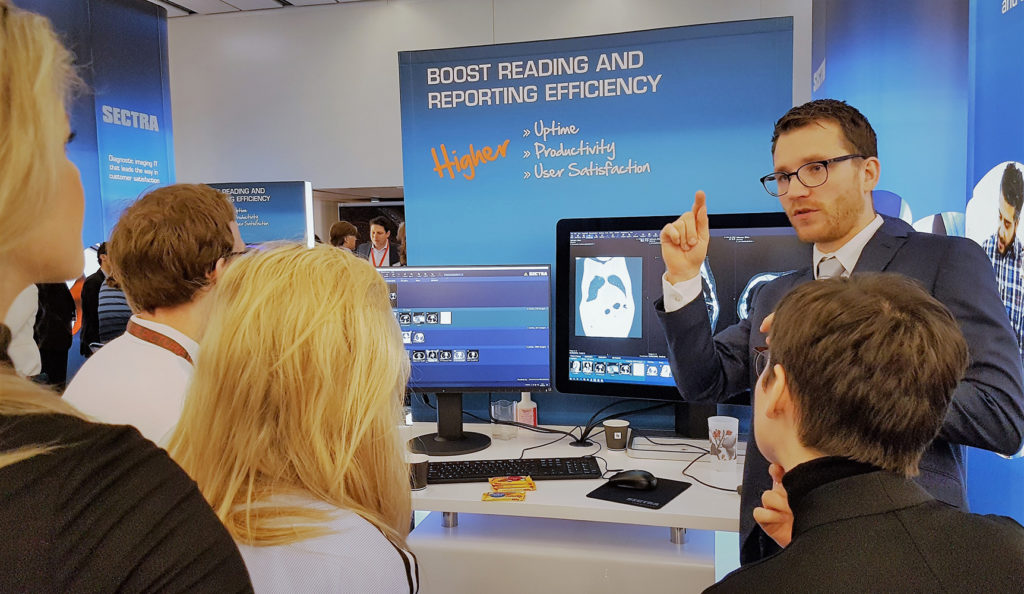 Picture from Sectra's booth at ECR 2019